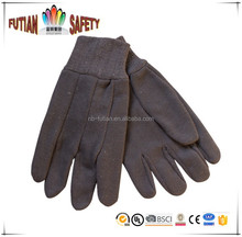 FTSAFETY 100% Cotton brown Jersey glove WITH MINI PVC DOTS for safety working