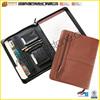Factory Handmade Smart Leather Portfolio Folder In Zipper Style