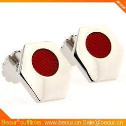 Cufflinks ZB1284 - Polygon Epoxy Red Cuff Links - Cufflink Manufacturer,military cufflinks