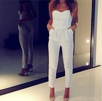 Lady White Romper Overall White Bodycon Jumpsuits New Fashion Women Slim Sexy Jumpsuit V-neck Playsuit Bodysuit W034