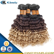 top quality unprocessed grade wholesale cheap ombre color deep curly 100 raw human virgin malaysian hair