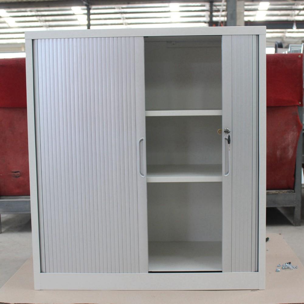 2 Roller Shutter Door Office Filing Cabinet Gray Tambour Door