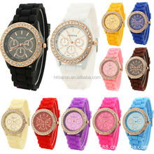 Geneva Brand Women's Fashion Dress Watch New Arrival Silicone Strap Girls Wristwatch Gift