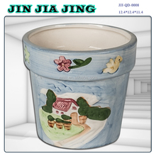 Morden vintage hand print porcelain planter pot