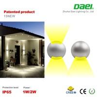 2015 new design outdoor IP65 12v 1w 2w mini led wall spotlight waterproof