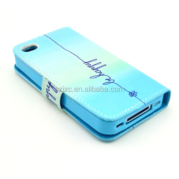 wallet&stand multi function TPU+PU leather case for iPhone 4S with patterns