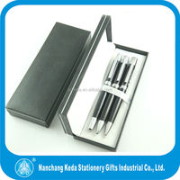 2014 Luxury Black gift set Metal Ball Pen Roller Pen pencil set cheap pen and pencil set