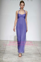 New Fashion 2014 High Quality Cheap Made To Order China Patterns Long Halter Chiffon Maxi Sleeveless Purple Bridesmaid Dresses