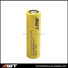 Hot sell!!! Aweite 18650 2500mah 35amp rechargerable battery 3.7v li-ion battery 1x18650 lithium rechargeable battery