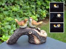 Solar powered resin bird sound sensor with led light
