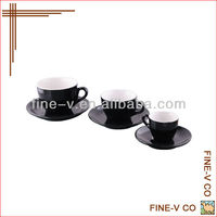 Acf cafe cup and saucer,black color coffee cup, black glazed