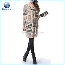 Women Baggy Newspaper Print Knit Pullover Dress women crochet dresses ladies knit dress