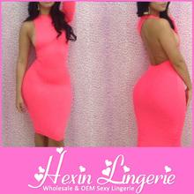 de alta calidad único de color rosa de manga larga vestido de vendaje