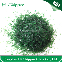 Crushed dark green glass chips material for concrete flooring