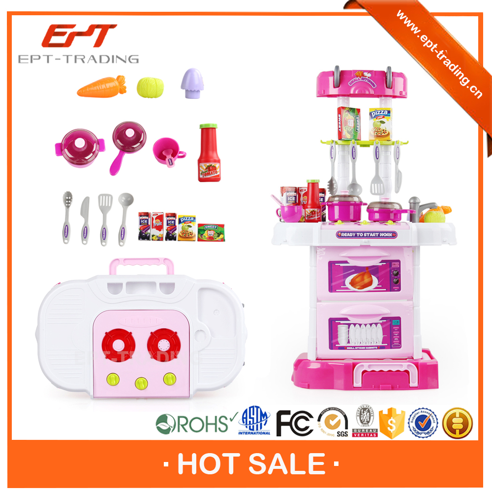 Hot selling electronic kids kitchen play set toy with for Kitchen set video song