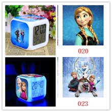 Hot Frozen Retail And New LED 7 Colors Change Glowing Clock Frozen Anna and Elsa Thermometer Night Colorful Digital Alarm Clock