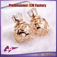 New Fashion 18K Gold Plated Hollow Ball with crystal Stud Earrings For Women