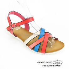 European style TPR outsole flat vamp double cross design ankle strap fashion pvc student sandals