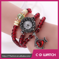 Top Design Casual Watch Beads Strap Bracelet Watches Wristwatch Little goldfish Pendant Reloj Electronics Quartz Watch XR1306-2