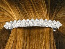 Polished Silver Tone Trim Rhinestone Hair Clip Hair Barrette