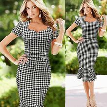 Stylish Office Ladies Women Sexy Short Sleeve Plaid Fishtail Party Latest Office Dress SV020120
