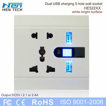 New arrival 5 pin plug socket 2USB port electric switch and socket