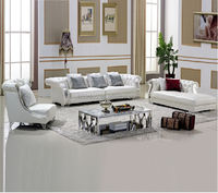 Pure White Chesterfield Leather Sofa, Coffee Table, Living Room Furniture