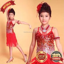 BestDance Latin Salsa Tango Ballroom Dance Dress Tassel Sequin schildren latin dance dress