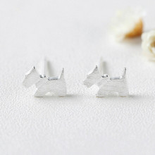 Cute Lovely animal S925 sterling silver puppy dog stud earrings