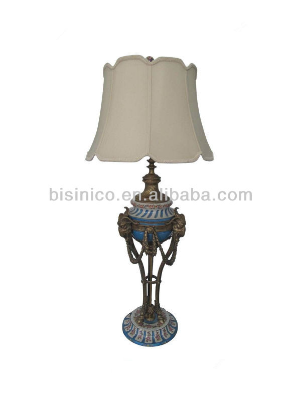 Home Decor Porcelain Table Lamp With Shade Imitated Bronze Sculpture Lamps Li
