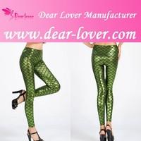 Green Metallic Scales Sexy Shiny Seamless Tights Woman Leggings