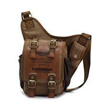 Vintage Men Travel Hiking Canvas Leather Shoulder Military Messenger Satchel Bag