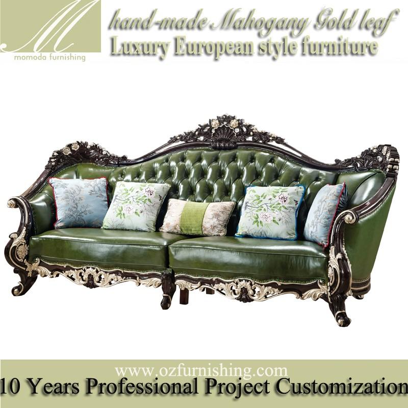 hg506 en bois massif cadre europenne style italien antique canap en cuir franais rtro salon - Salon En Bois Massif Cuire