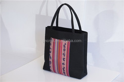 High quality cotton tote with woven pattern/natural eco-firendly casual handbag for women