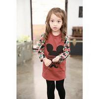 2015 New Korean Autumn Black Girls Cotton T-shirt Tops With Cartoon Print Patterns Girls Outfits Cheap BT81110-39
