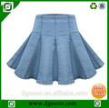 Novo design um- linha de espernear fornecedor do oem da mulher jeans curta senhora saia jeans