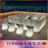 2015 Hot Hiqh Quality Bar PE Plastic Table Chair Furniture LED Salon Color Bars
