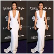 Deep V Cap Sleeve 2015 New Style USA Celebrity Evening Dress in Stock White Satin