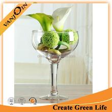 Goblet Shaped Art Glass Vase With Clear Glass Stem,Large Glass Goblet Vase