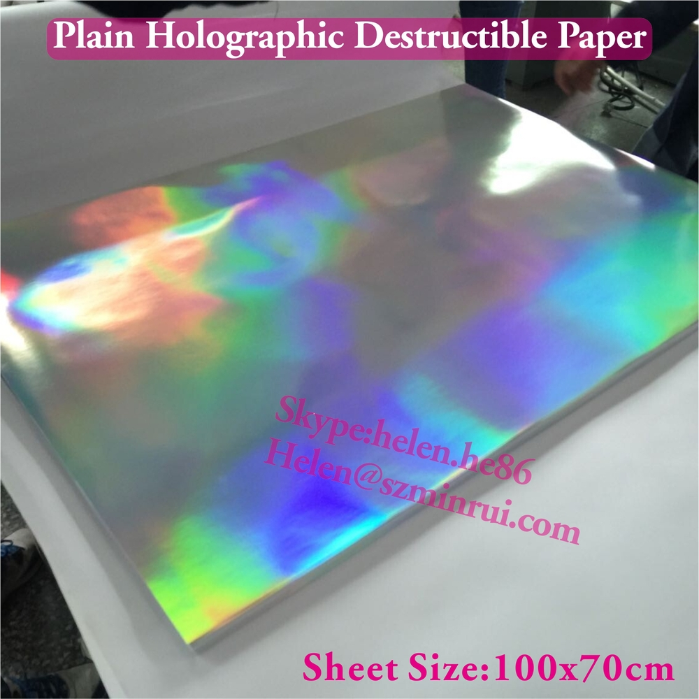High Quality Plain Hologram Destructible Fragile Paper
