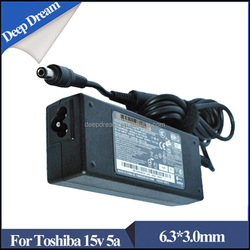 High quality AC DC 6.3*3.0mm 75w 15V 5A laptop adapter for toshiba