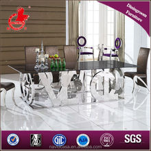 A8036 black square glass dining table
