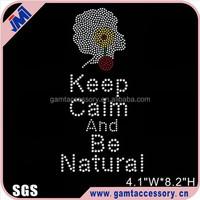 Keep Calm Be Natural Afro Girl Rhinestone Transfer