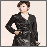 XBF020 Top Brand Black Winter Long Fashion Women Leather Sleeve Trench Coat