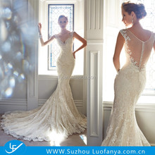 2015 Low Back V-neck Sheer Back Cap Sleeves Beaded Crystals Bridal/wedding gown Appliques Sexy Lace Mermaid Wedding Dresses