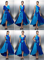 Free Shipping Royal Blue Chiffon Evening Dress Open Back Prom Dress Sleeveless Graduation Dresses 2016 C47-1