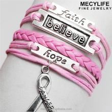 MECY LIFE 2015 wholesale hope faith love courage bracelet cancer leather bracelet