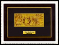 Value Collectible Rare US 100 Dollars Pure 24K Gold Banknote With Engraved Technique, Holder In Wood Photo Frame For Gifts