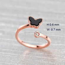 high quality 316L stainless steel adjustable rose gold butterfly ring for women