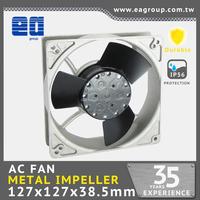 127mmx127x38.5mm 12v 24v AC METAL impeller axial cooling fan motor